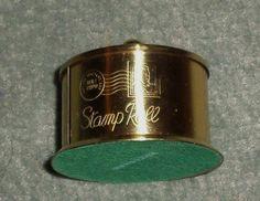 Vintage Brass Original Etched Logo Stamp Roll Holder for the Desk w/Top, GUC!