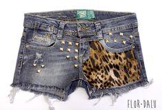 Leopard Denin Studded - Flor Dalu - $80