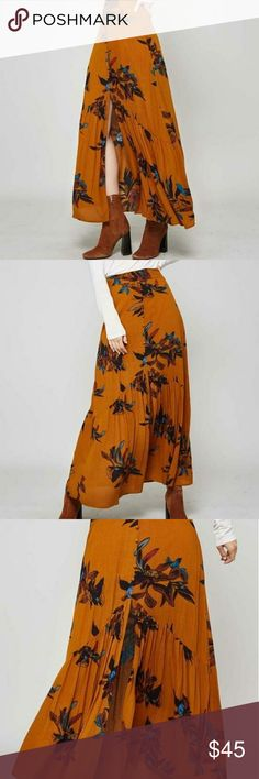 Floral midi skirt Camel color floral midi skirt with ruffle detail Skirts Midi