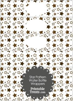 Brown Star Pattern Water Bottle Wrappers from PrintableTreats.com