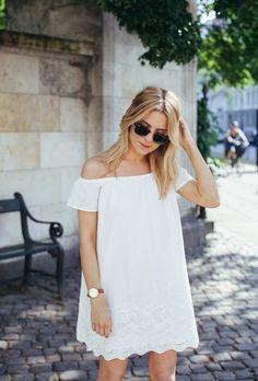 White off the shoulder dress.