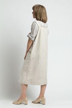 Vintage 90s Tan Cotton Linen Overall Jumper Midi Dress | M