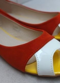 Ballerines orange blanche bout ouvert Ballerines Orange, Ouvert, Chaussure 3ca72e39a55