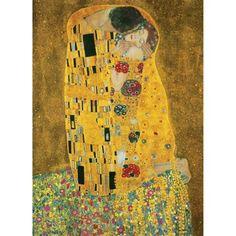 Poster XXL de mur The kiss, 183x254 cm  Pour penser la décoration de mon salon, j'ai choisi une oeuvre parmi mes préférées. Ici il s'agit du baiser de Klimt mettant en scène Gustav et sa maîtresse Emilie. De cet élément central découle tout le reste de ma déco...