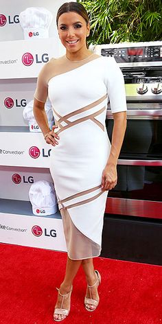 "Last Night's Look: Love It or Leave It? Vote Now! | EVA LONGORIA | in a white midi with sheer cutout detailing and nude patent leather sandals at the Eva Longoria and LG Electronics Host ""Fam to Table"" event in Culver City, California."