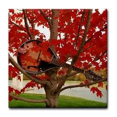 Mandolin in the Red Leaves Tile Coaster ($5.99)