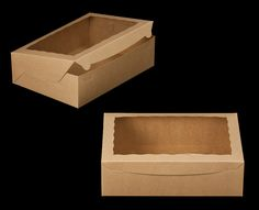 """2101 - 14"""" x 10"""" x 4"""" Brown/Brown with Window, Lock & Tab Box With Lid"""