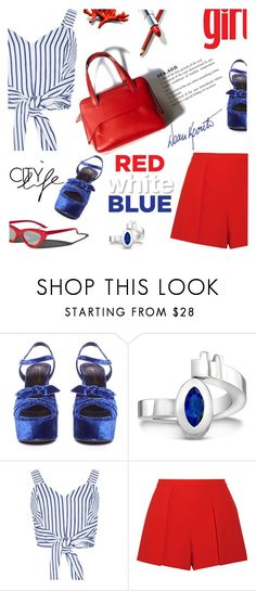 """""""Red, White & Blue: Celebrate the 4th!"""" by lacas ❤ liked on Polyvore featuring Garance Doré, Yves Saint Laurent, WithChic, Alice + Olivia and fourthofjuly"""