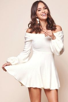 f6be405e1be Shop the Morais Puff Sleeve Off the Shoulder Fit and Flare Sweater Dress  Off White