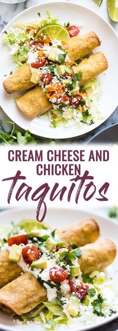These Cream Cheese Chicken Taquitos are baked, not fried, and make a great appetizer or meal. They're also freezer friendly! (gluten free) | Mexican | easy recipe | oven baked | kid friendly | corn tortillas