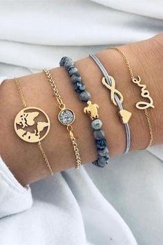 Sweet Turtle World Map Marble Bracelet Set # Sweet . Cute Turtle World Map marble bracelet set # sweet Cute Jewelry, Diy Jewelry, Gold Jewelry, Jewelery, Jewelry Accessories, Fashion Jewelry, Women Jewelry, Bohemian Jewelry, Jewelry Box