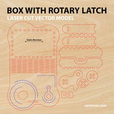 Business card holder, playing cards box, cigarette case, jewelry box, gift box, wooden box with locking mechanism - rotary latch. Lasercut vector model. Ready for laser cutting. Project plan preview