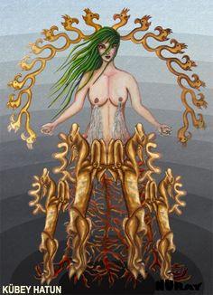 TANRIÇA KÜBEY Ulu Tanrıçayla veya su simgeciliğiyle (hayat suyu) ilişkili olan ve ölümsüzlük kaynağıyla (hayat ağacı) özdeşleştirilen, tükenmez bereketin, mutlak gerçekliğin ve yaşamın simgesi olan ağaç, Türk mitlerinde de aynı özellik ve işlevlere sahiptir. Tanrıça, aynı zamanda yeniden doğuşun ve ölümsüz hayatın kaynağıdır. Ulu Tanrıça, yaradılışın tükenmez kaynağının bir kişileştirmesidir. Bazı Türk inançlarına göre Doğum Tanrıçası Kübey-Hatundu ve kökünden hayat suyu akan ağacın…