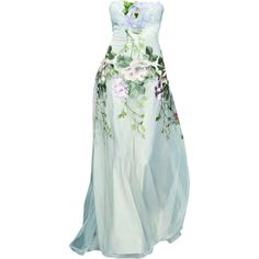 Satinee's collection - Claire Pettibone ❤ liked on Polyvore featuring dresses, gowns, long dresses, satinee, long green dress, green evening gown, green ball gown and green dress