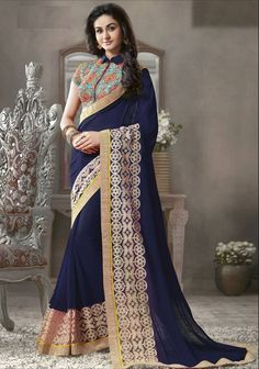 pilgrim wedding dress | Buy Navy_Blue Embroidered Georgette saree With Blouse Online
