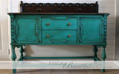 A buffet beautifully finished in Florence Chalk Paint® decorative paint by Annie Sloan | By Making Beautiful Blog