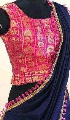 Simple Blouse Designs, Saree Blouse Neck Designs, Stylish Blouse Design, Designer Blouse Patterns, Kurti Designs Party Wear, Hair Wedding, Wedding Outfits, Saree Wedding, Indian Blouse