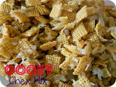 Gooey Almond and Coconut Chex Mix Recipe--Another terrific recipe by Six Sisters.  I love their blog!