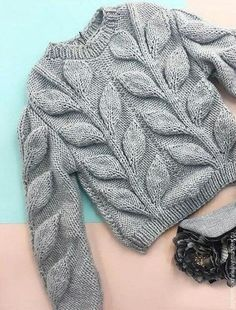 "Купить Пуловер "" Листья "" - зеленый, пуловер, свитер, с листьями, вязаный, спицами, полушерсть"