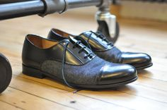 Duo-tone denim and leather oxford dress shoes. So different. I think i love it