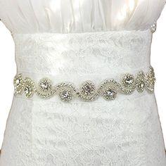 SoAyle Women's Crystal Ribbon Wedding Belt for Marriage