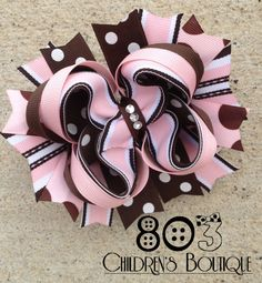 Brown & Light Pink Boutique Bow by 803 Children's Boutique
