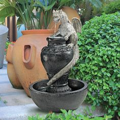 Winged Serpent Dragon Perched on Urn Basin LED Water Feature Garden Fountain