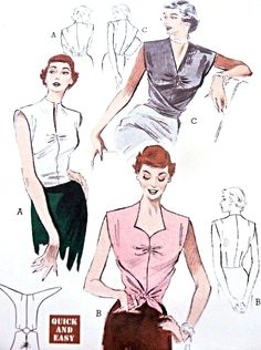 1950s WrapAround Convertible Blouse Pattern Butterick 5579 Quick n Easy Blouse You Wrap Around To Front Cross or Tie 3 Beautiful Necklines Day or Evening Bust 36 Vintage Sewing Pattern FACTORY FOLDED