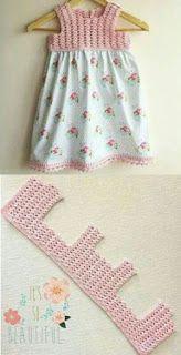 Add a Crochet yoke to a purchased skirt or dress - Carmen Acevedo Vestido de crochet y tela, can How to Crochet Baby Toddler Gi Crochet Patterns Dress Crochet and fabric dress, crochet hook and fabric skirt. Scarfs crochet how to crochet romantic lacy sha Crochet Yoke, Crochet Fabric, Filet Crochet, Crochet Stitches, Crochet Blouse, Easy Crochet, Thread Crochet, Baby Tulle Dress, Baby Skirt