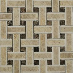 Splashback Tile Yarn Woven Wood 12-1/2 in. x 12-1/2 in. x 10 mm Polished Marble Mosaic Tile, Browns/Tan