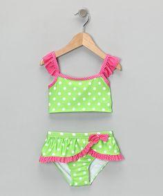 Penelope Mack: Swimwear  Green & Pink Polka Dot Tankini....the cutest swimsuit I have ever seen!!