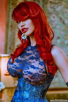 Redhead in blue lace
