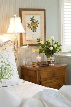Bedroom Decor I have a silver pitcher I need to use like this Note the light switch just above the nightstand
