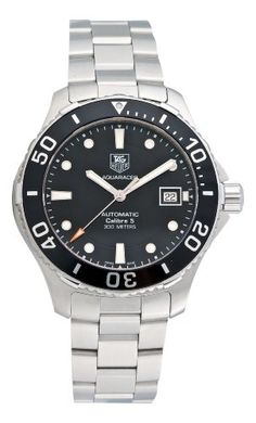 Tag Heuer Men's Aquaracer Calibre 5 Stainless Steel Black Dial Watch #WAN2110.BA0822 The TAG Heuer Men's Aquaracer 500 M Calibre 5 Automatic Black Dial Watch is a versatile, eye-catching timepiece that easily accompanies both office and athletic attire. The case, bezel, and band of this durable watch are made of stainless steel, which handsomely offsets the bold black dial and pays complement to its luminous hands and hourly indexes. For convenie...