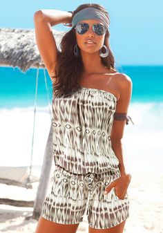 CWLSP Bohemian Beach Playsuit Summer Romper Loose Tie Dye Jumpsuit Print Strapless Bodysuit Brand Name: cwlsp - Material: Polyester - Type: Playsuits - Style: Bohemian - Fit Type: Loose - Pattern Type: Print - Decoration: None - Model Number: - Fabr Beach Playsuit, Summer Romper, Rompers Women, Jumpsuits For Women, Overall Shorts, Harajuku, Online Katalog, Strapless Bodysuit, Trends