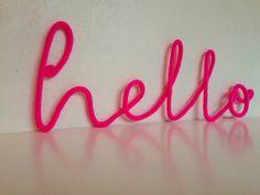 Soft Neon Sign hello crochet cursive wire by SatarasWireCrafts