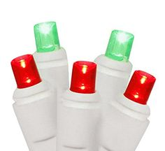 Set of 50 Red and Green Commercial Grade LED Wide Angle Christmas Lights  White Wire * Want to know more, click on the image.