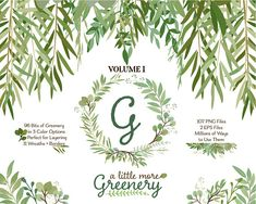 Greenery Clipart | Leafy Clip Art | Leaves Wreaths Branches and Borders for Stationery, Wedding Invites, and Products