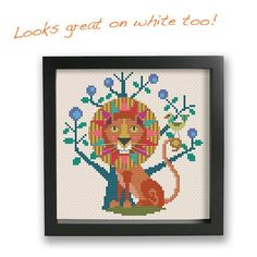 Leo lion zodiac sign Satsuma Street modern cross stitch