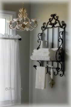 BackPorchMusings photos of master bath. Love the accessories and the chandelier makeover. Wall color is SW Front Porch. BackPorchMusings photos of master bath. Love the accessories and the chandelier makeover. Wall color is SW Front Porch. Chandelier Makeover, Wrought Iron Decor, Iron Furniture, Accent Furniture, White Rooms, Home Accessories, Room Decor, House Design, Interior Design