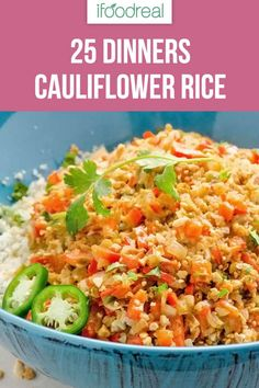 25 Cauliflower Rice 25 Cauliflower Rice Recipes is a collection of healthy riced cauliflower recipes including fried rice with chicken and shrimp risotto casserole bowls meal prep salads grilled Mexican vegetarian and vegan. Rice Recipes, Real Food Recipes, Vegetarian Recipes, Cooking Recipes, Healthy Recipes, Healthy Fats, Keto Recipes, Cooking Fish, Veggie Recipes