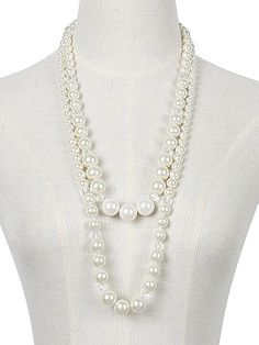 White Faux Pearl Crystal Double Layer Necklace