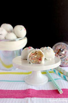 Funfetti Cookie Dough Truffles- This no bake dessert will make you feel like a kid again!