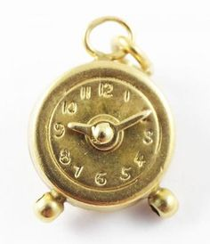 Vintage 1930s 1940s 14k Gold Alarm Clock with Moving Hands