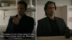 Frank Semyon: I'm gonna put my other hand up now. Don't you fucking shoot me, Raymond.  http://truedetectivequotes.blogspot.com/2015/07/im-gonna-put-my-other-hand-up-now-dont.html #TrueDetective