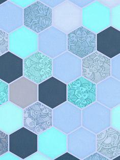 Denim Blue, Aqua & Indigo Hexagon Doodle Pattern Art Print