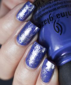 Saran Wrap Manicure with China Glaze Fancy Pants and Butter London Lillibet's Jubilee | A Polish Addict