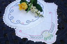 Doilies Shabby chic lot Embroidered doilies hand by MAISONDELINGE
