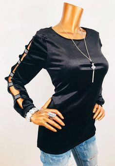 7c369781e7e7b Cable   Gauge M Velvet Stretch Cut Out Long Sleeves Gems Blouse Black Crew