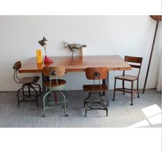 Industrial legs with farm table top